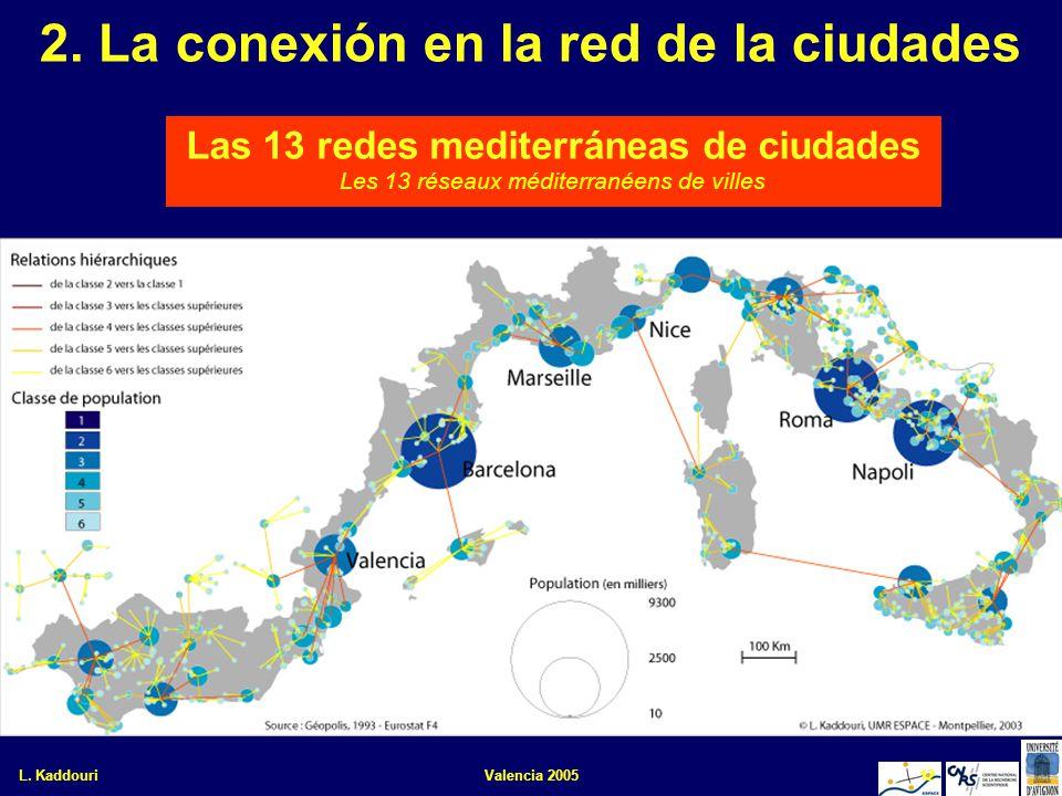 L. KaddouriValencia 200512 2. La conexión en la red de la ciudades Las 13 redes mediterráneas de ciudades Les 13 réseaux méditerranéens de villes