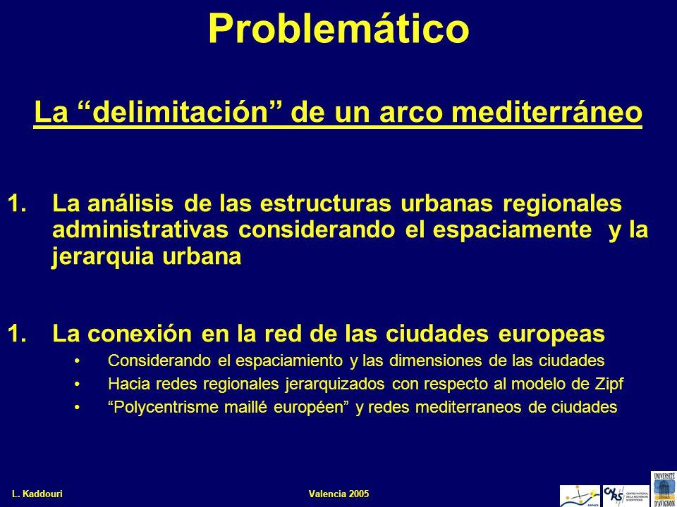 L. KaddouriValencia 20052 Problemático La delimitación de un arco mediterráneo 1.La análisis de las estructuras urbanas regionales administrativas con