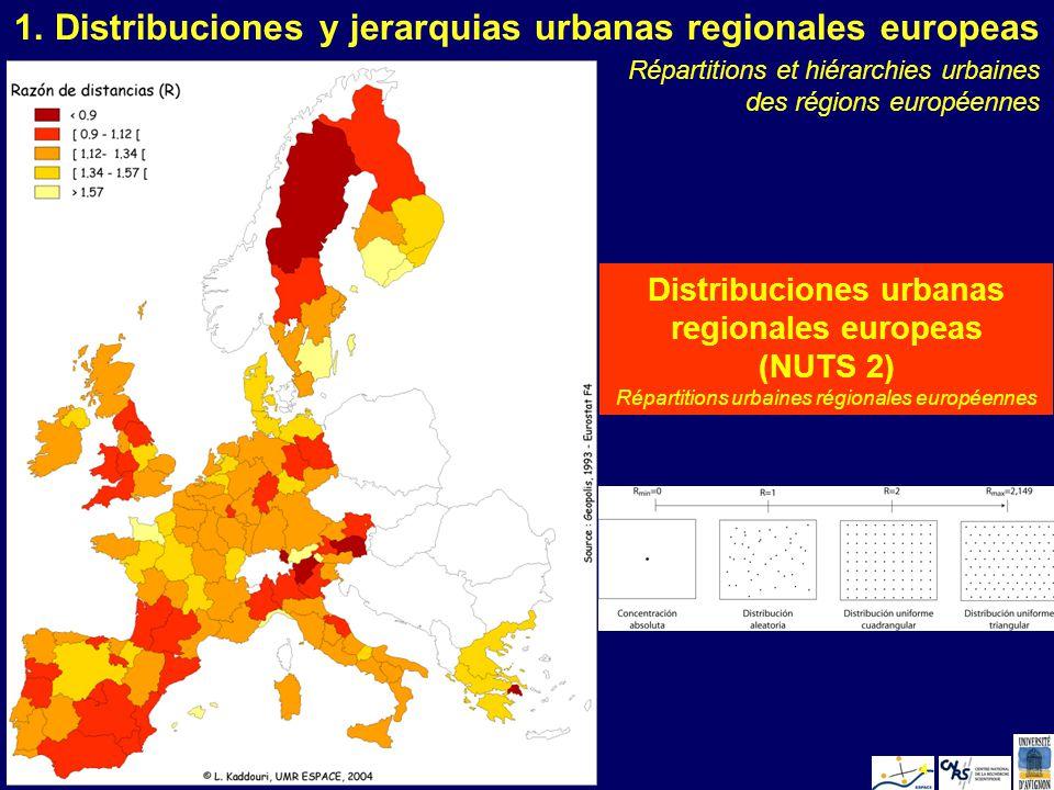 L. KaddouriValencia 20054 1. Distribuciones y jerarquias urbanas regionales europeas Distribuciones urbanas regionales europeas (NUTS 2) Répartitions
