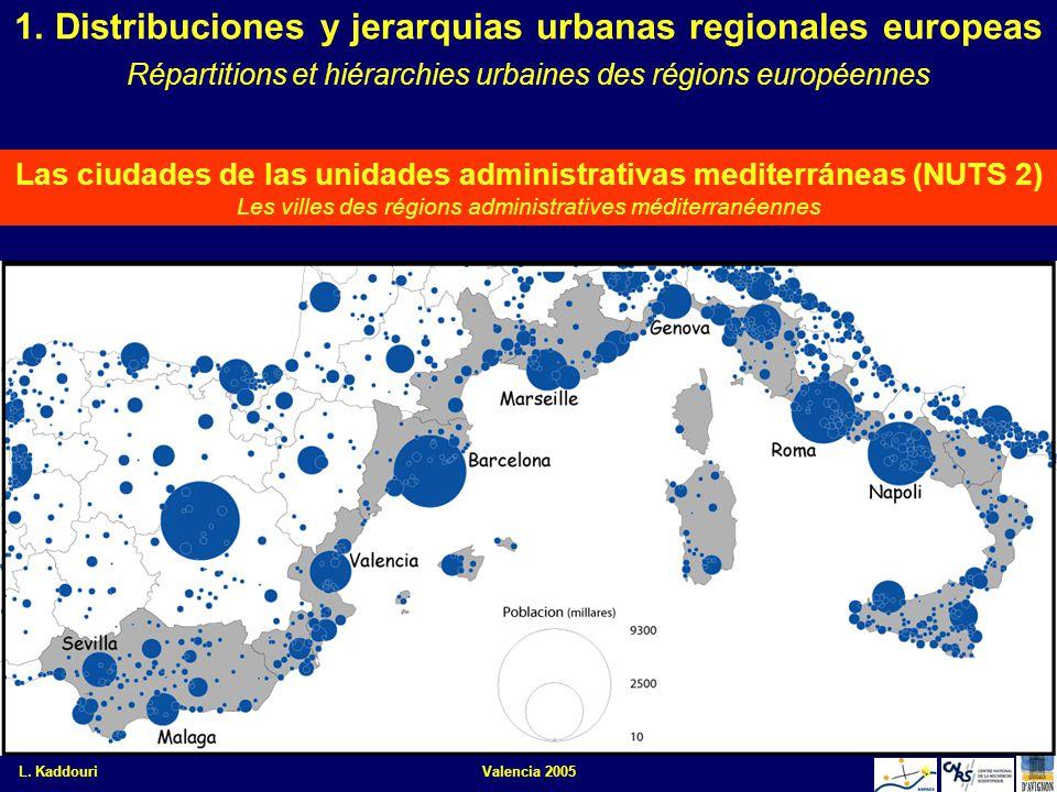 L. KaddouriValencia 20055 Las ciudades de las unidades administrativas mediterráneas (NUTS 2) Les villes des régions administratives méditerranéennes