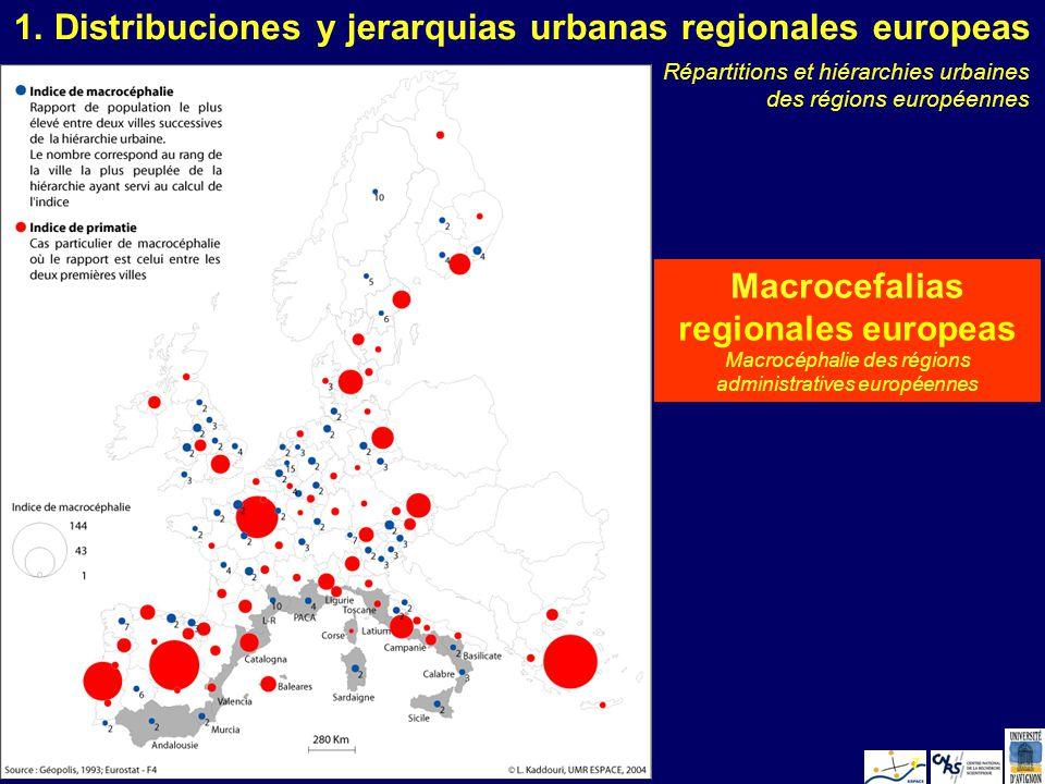 L. KaddouriValencia 20057 Macrocefalias regionales europeas Macrocéphalie des régions administratives européennes 1. Distribuciones y jerarquias urban