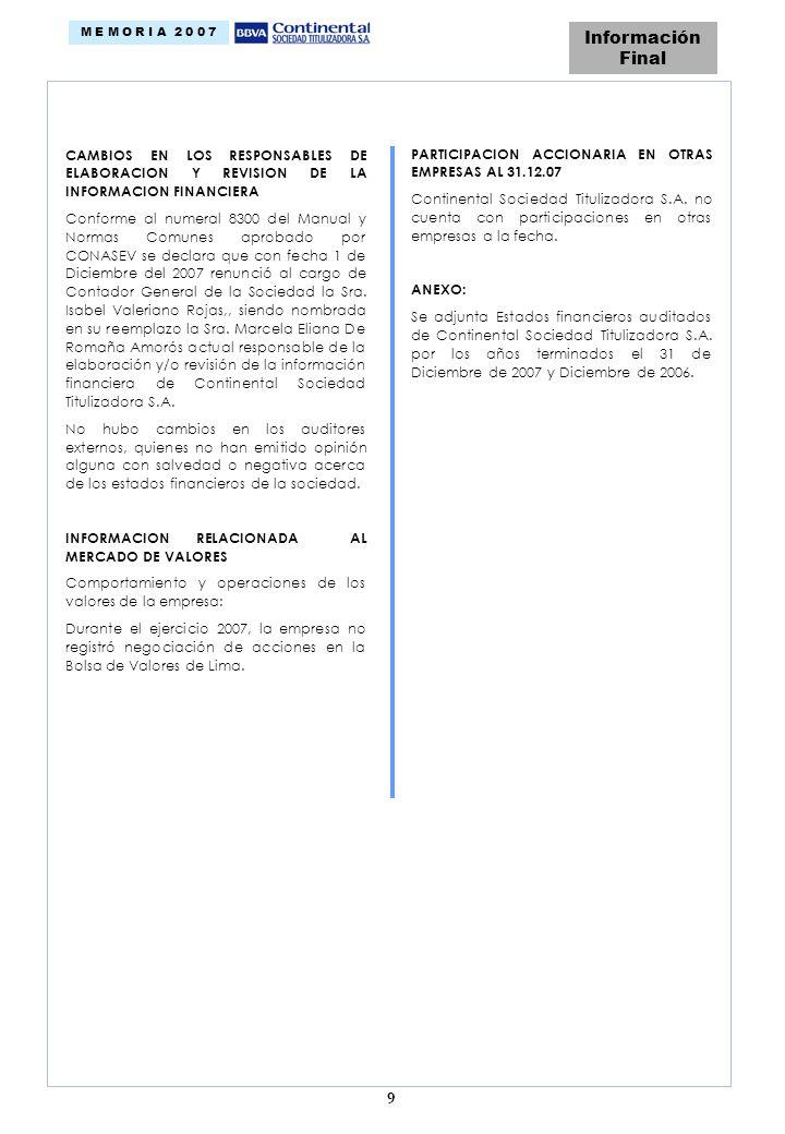 9 Información Final M E M O R I A 2 0 0 7 CAMBIOS EN LOS RESPONSABLES DE ELABORACION Y REVISION DE LA INFORMACION FINANCIERA Conforme al numeral 8300 del Manual y Normas Comunes aprobado por CONASEV se declara que con fecha 1 de Diciembre del 2007 renunció al cargo de Contador General de la Sociedad la Sra.
