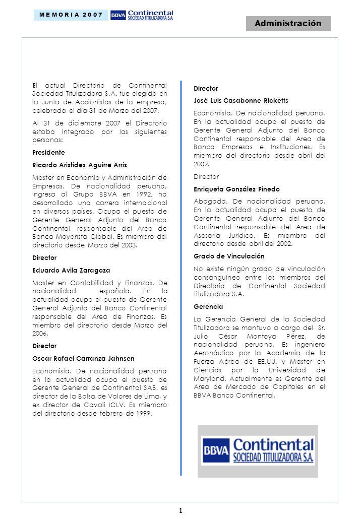 Administración E l actual Directorio de Continental Sociedad Titulizadora S.A.