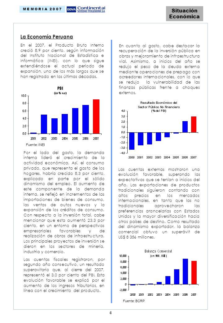 4 Situación Económica M E M O R I A 2 0 0 7 La Economía Peruana En el 2007, el Producto Bruto Interno creció 8,9 por ciento, según información del Instituto Nacional de Estadística e Informática (INEI), con lo que sigue extendiéndose el actual periodo de expansión, uno de los más largos que se han registrado en las últimas décadas.