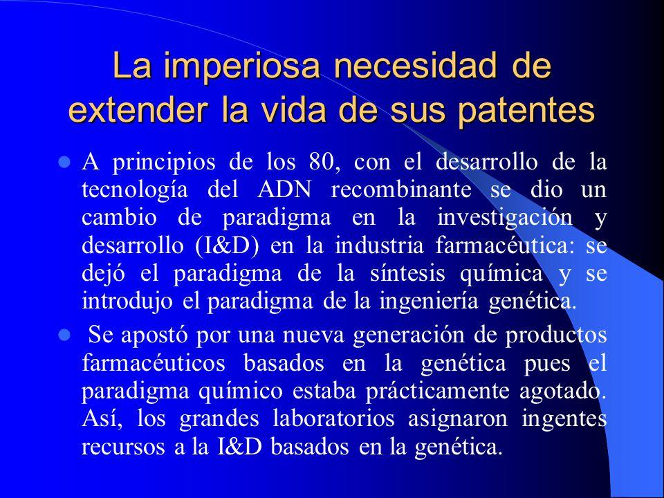 La imperiosa necesidad de extender la vida de sus patentes A principios de los 80, con el desarrollo de la tecnología del ADN recombinante se dio un cambio de paradigma en la investigación y desarrollo (I&D) en la industria farmacéutica: se dejó el paradigma de la síntesis química y se introdujo el paradigma de la ingeniería genética.