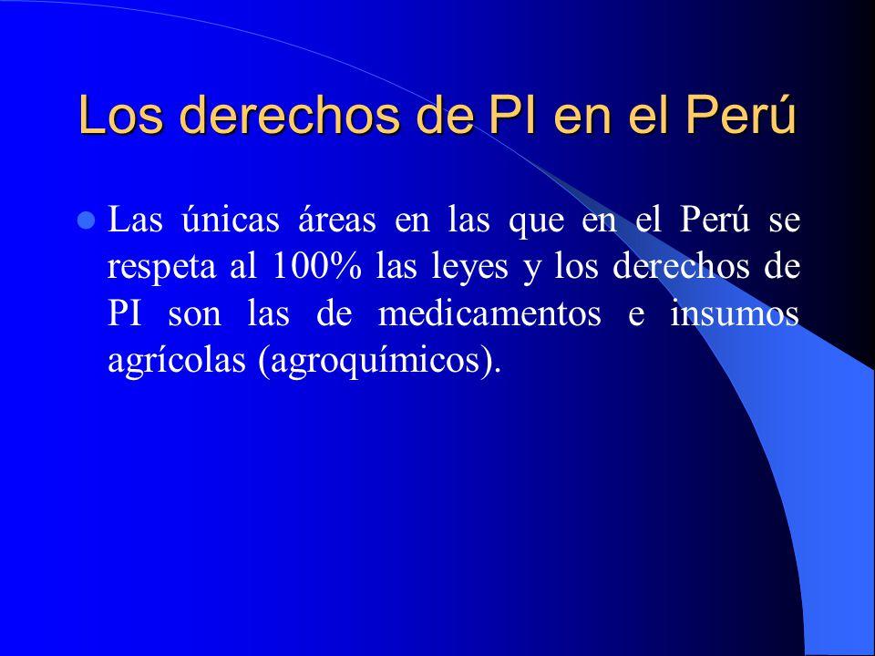 Los derechos de PI en el Perú Las únicas áreas en las que en el Perú se respeta al 100% las leyes y los derechos de PI son las de medicamentos e insumos agrícolas (agroquímicos).