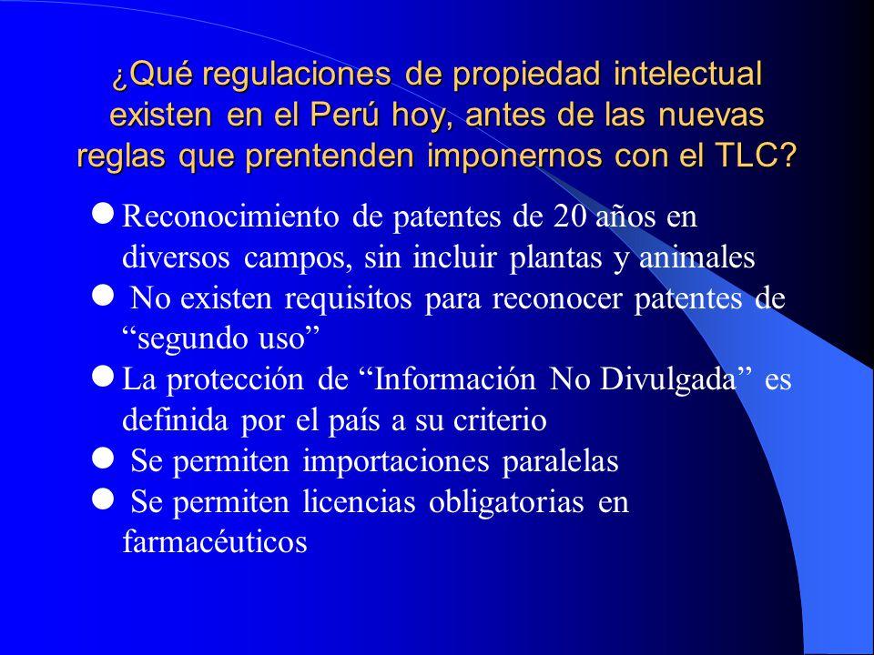 ¿ Qué regulaciones de propiedad intelectual existen en el Perú hoy, antes de las nuevas reglas que prentenden imponernos con el TLC.