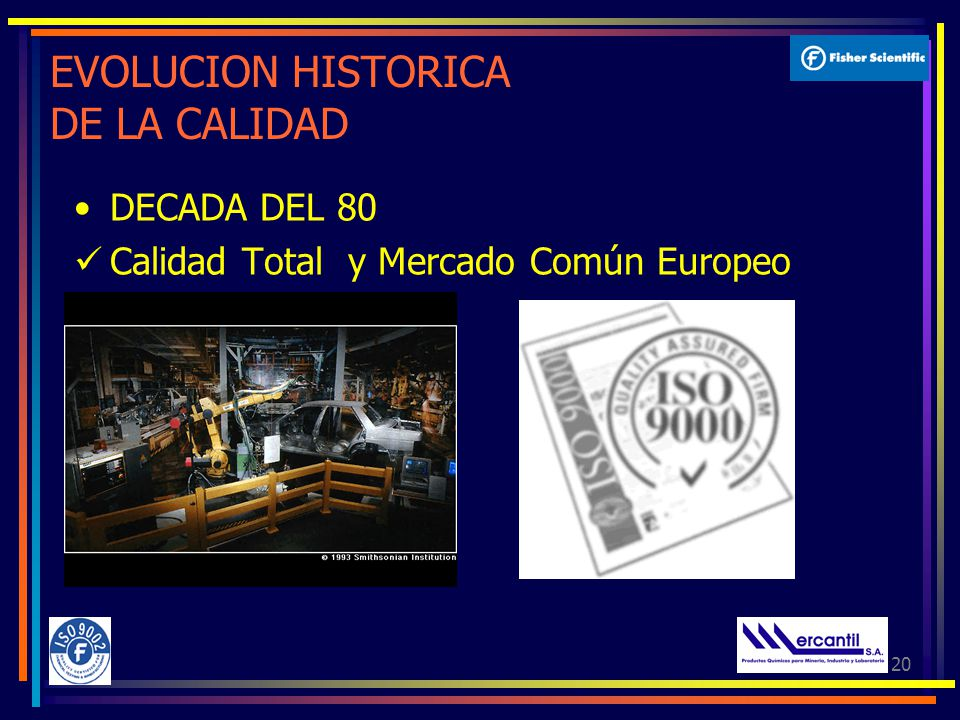 20 EVOLUCION HISTORICA DE LA CALIDAD DECADA DEL 80 Calidad Total y Mercado Común Europeo