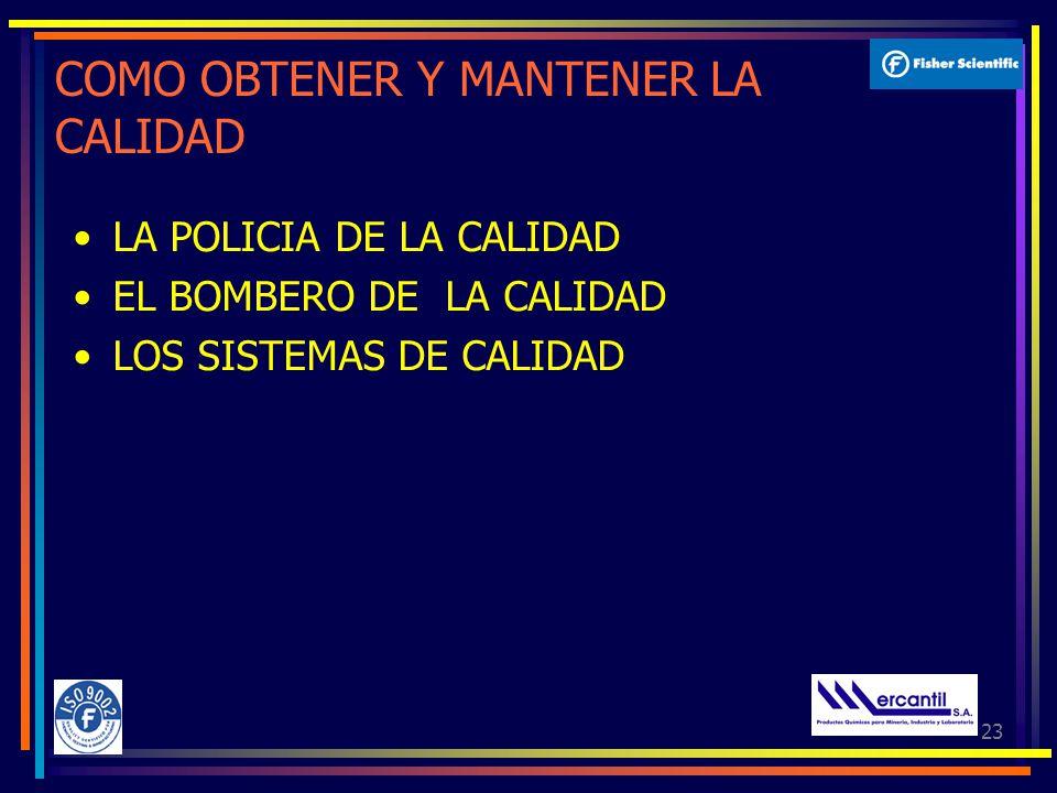 23 COMO OBTENER Y MANTENER LA CALIDAD LA POLICIA DE LA CALIDAD EL BOMBERO DE LA CALIDAD LOS SISTEMAS DE CALIDAD