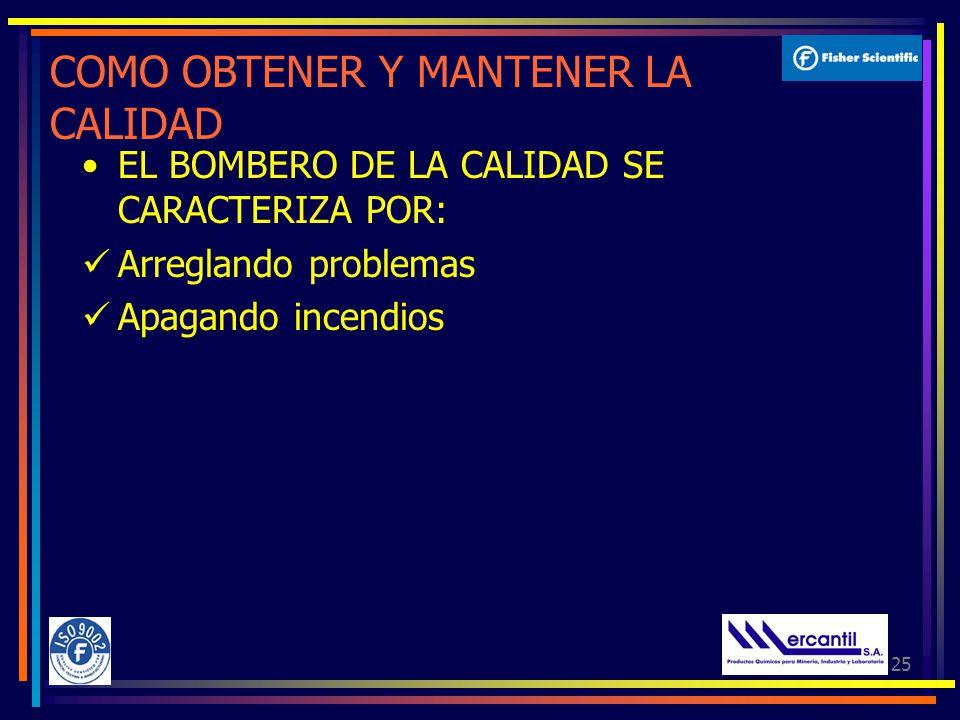 25 COMO OBTENER Y MANTENER LA CALIDAD EL BOMBERO DE LA CALIDAD SE CARACTERIZA POR: Arreglando problemas Apagando incendios