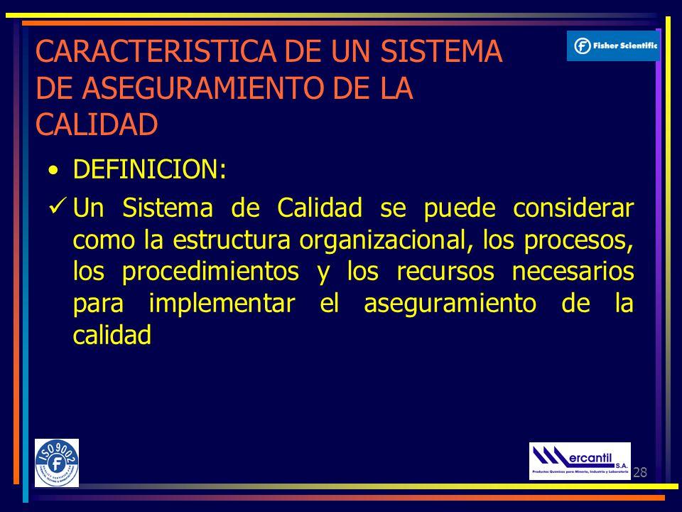 28 CARACTERISTICA DE UN SISTEMA DE ASEGURAMIENTO DE LA CALIDAD DEFINICION: Un Sistema de Calidad se puede considerar como la estructura organizacional, los procesos, los procedimientos y los recursos necesarios para implementar el aseguramiento de la calidad
