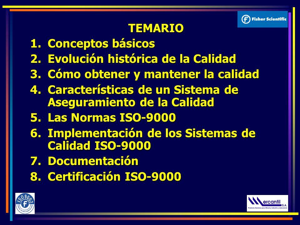 TEMARIO 1.Conceptos básicos 2.Evolución histórica de la Calidad 3.Cómo obtener y mantener la calidad 4.Características de un Sistema de Aseguramiento de la Calidad 5.Las Normas ISO-9000 6.Implementación de los Sistemas de Calidad ISO-9000 7.Documentación 8.Certificación ISO-9000