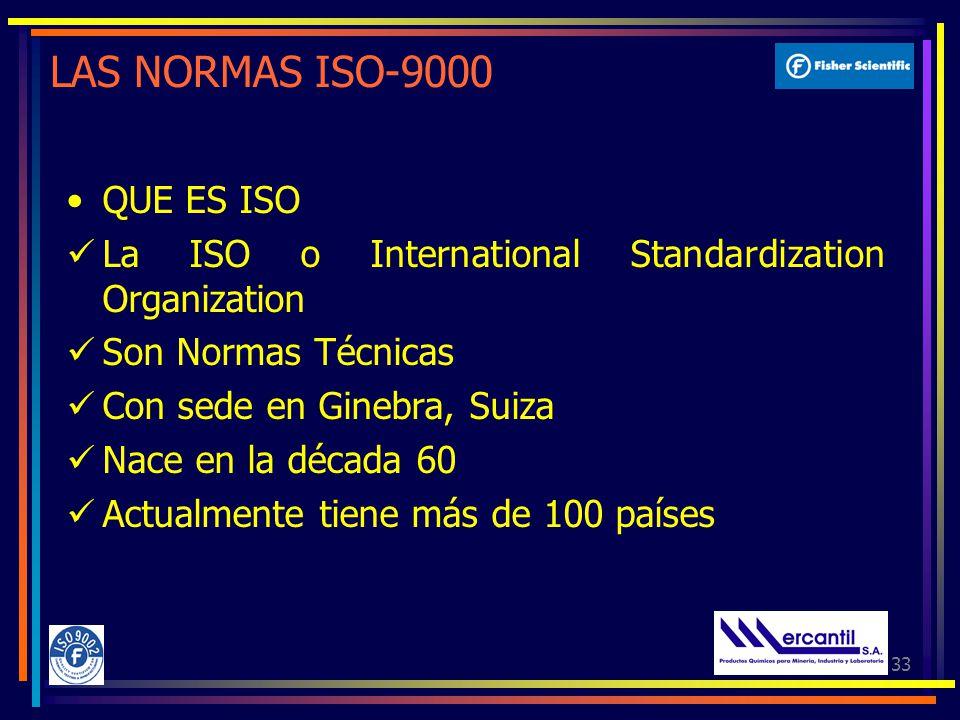 33 LAS NORMAS ISO-9000 QUE ES ISO La ISO o International Standardization Organization Son Normas Técnicas Con sede en Ginebra, Suiza Nace en la década 60 Actualmente tiene más de 100 países