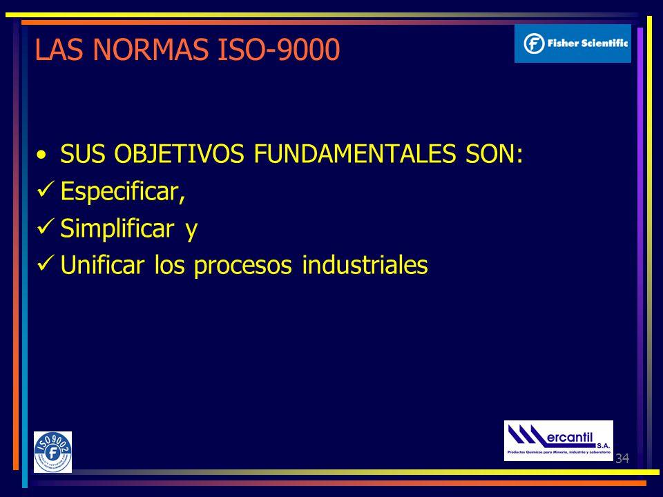 34 LAS NORMAS ISO-9000 SUS OBJETIVOS FUNDAMENTALES SON: Especificar, Simplificar y Unificar los procesos industriales
