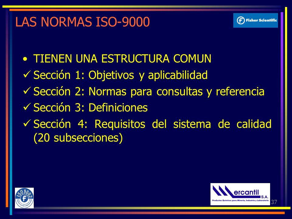 37 LAS NORMAS ISO-9000 TIENEN UNA ESTRUCTURA COMUN Sección 1: Objetivos y aplicabilidad Sección 2: Normas para consultas y referencia Sección 3: Definiciones Sección 4: Requisitos del sistema de calidad (20 subsecciones)