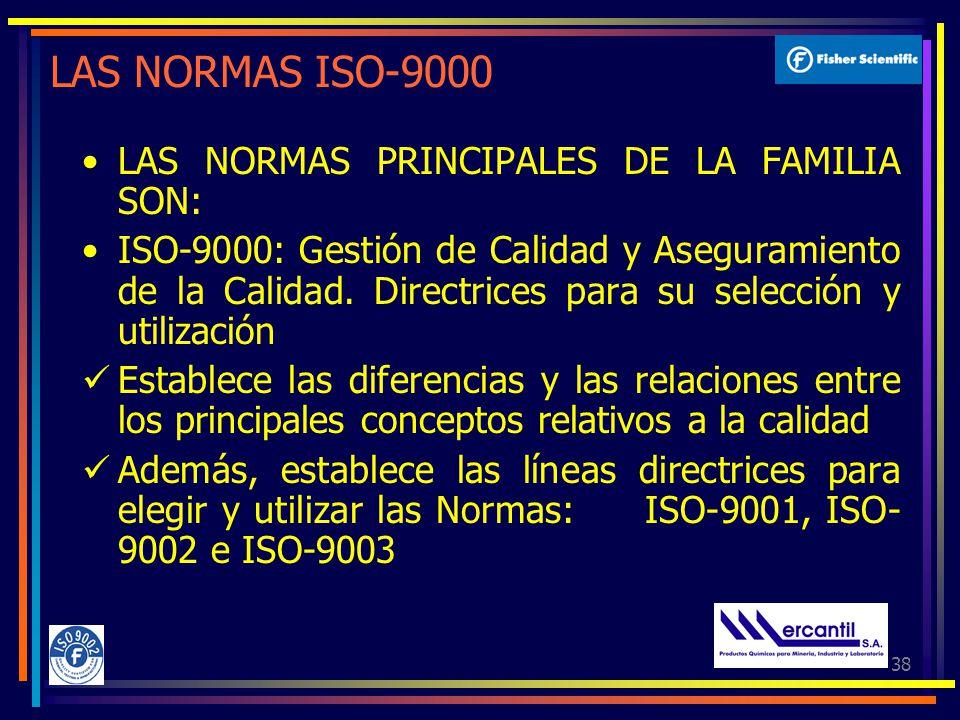 38 LAS NORMAS ISO-9000 LAS NORMAS PRINCIPALES DE LA FAMILIA SON: ISO-9000: Gestión de Calidad y Aseguramiento de la Calidad.