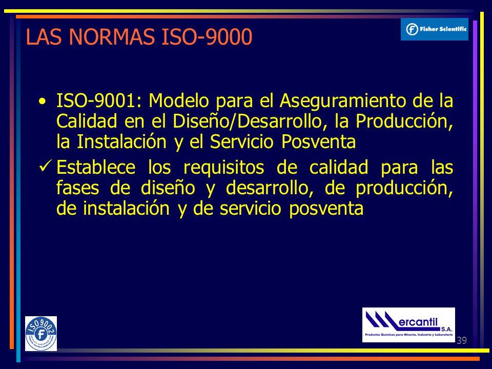 39 LAS NORMAS ISO-9000 ISO-9001: Modelo para el Aseguramiento de la Calidad en el Diseño/Desarrollo, la Producción, la Instalación y el Servicio Posventa Establece los requisitos de calidad para las fases de diseño y desarrollo, de producción, de instalación y de servicio posventa