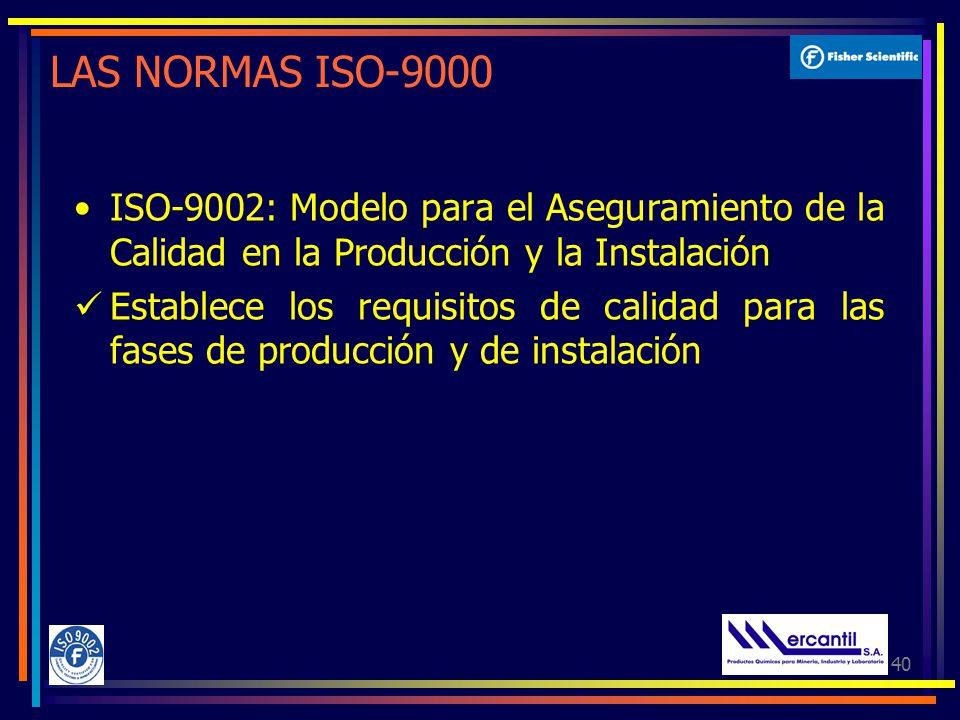 40 LAS NORMAS ISO-9000 ISO-9002: Modelo para el Aseguramiento de la Calidad en la Producción y la Instalación Establece los requisitos de calidad para las fases de producción y de instalación