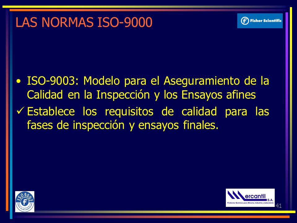 41 LAS NORMAS ISO-9000 ISO-9003: Modelo para el Aseguramiento de la Calidad en la Inspección y los Ensayos afines Establece los requisitos de calidad para las fases de inspección y ensayos finales.