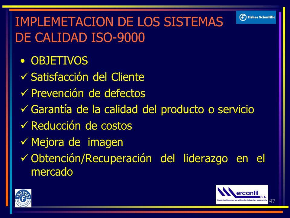 47 IMPLEMETACION DE LOS SISTEMAS DE CALIDAD ISO-9000 OBJETIVOS Satisfacción del Cliente Prevención de defectos Garantía de la calidad del producto o servicio Reducción de costos Mejora de imagen Obtención/Recuperación del liderazgo en el mercado