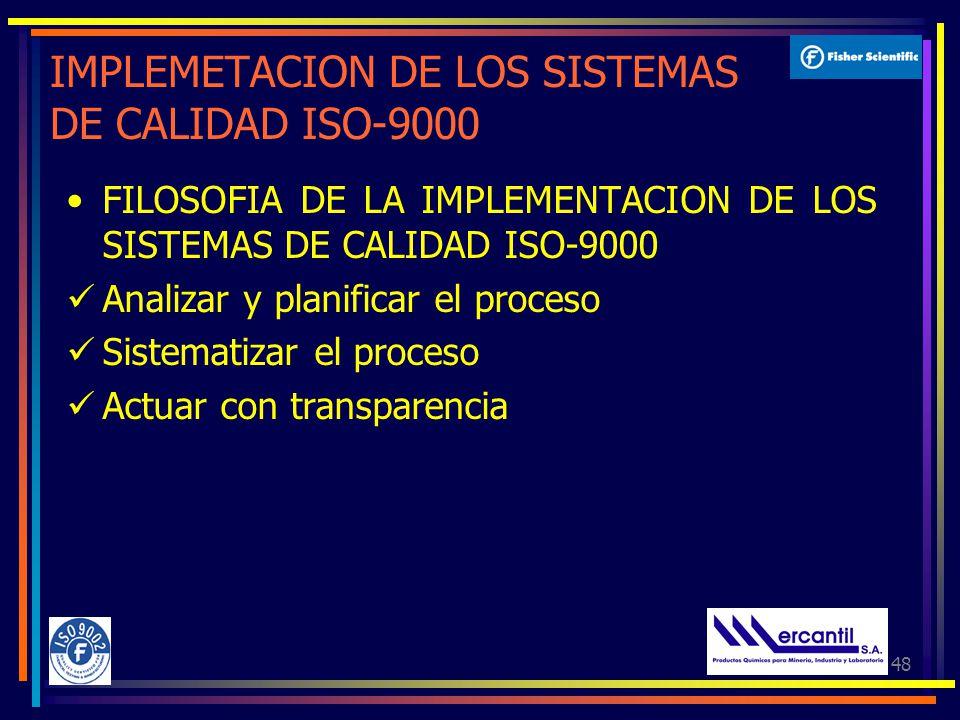 48 IMPLEMETACION DE LOS SISTEMAS DE CALIDAD ISO-9000 FILOSOFIA DE LA IMPLEMENTACION DE LOS SISTEMAS DE CALIDAD ISO-9000 Analizar y planificar el proceso Sistematizar el proceso Actuar con transparencia