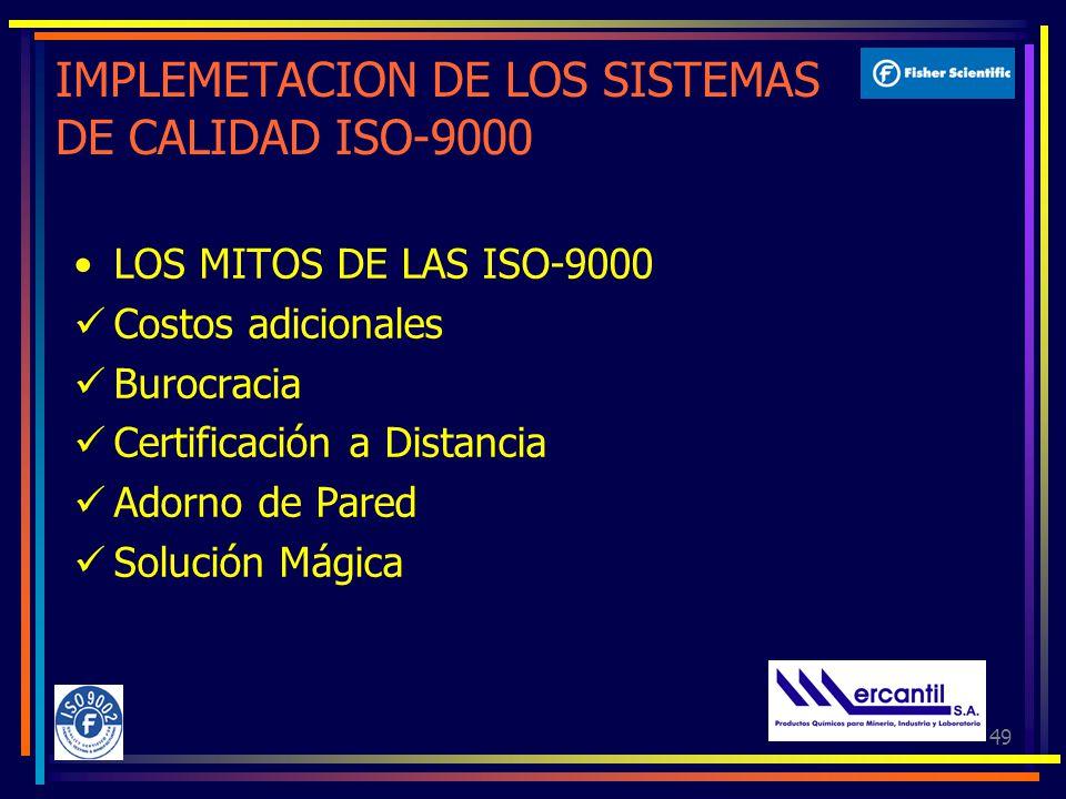 49 IMPLEMETACION DE LOS SISTEMAS DE CALIDAD ISO-9000 LOS MITOS DE LAS ISO-9000 Costos adicionales Burocracia Certificación a Distancia Adorno de Pared Solución Mágica