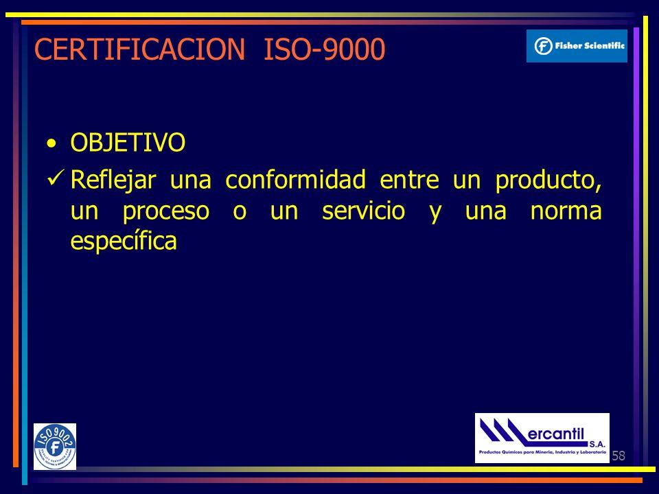 58 CERTIFICACION ISO-9000 OBJETIVO Reflejar una conformidad entre un producto, un proceso o un servicio y una norma específica