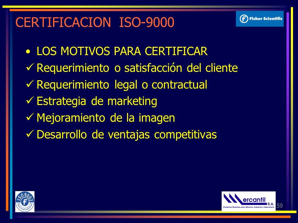 59 CERTIFICACION ISO-9000 LOS MOTIVOS PARA CERTIFICAR Requerimiento o satisfacción del cliente Requerimiento legal o contractual Estrategia de marketing Mejoramiento de la imagen Desarrollo de ventajas competitivas