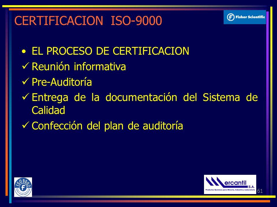 61 CERTIFICACION ISO-9000 EL PROCESO DE CERTIFICACION Reunión informativa Pre-Auditoría Entrega de la documentación del Sistema de Calidad Confección del plan de auditoría