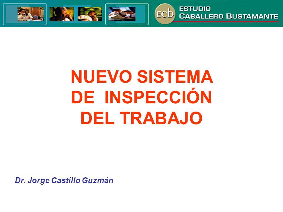 NUEVO SISTEMA DE INSPECCIÓN DEL TRABAJO Dr. Jorge Castillo Guzmán