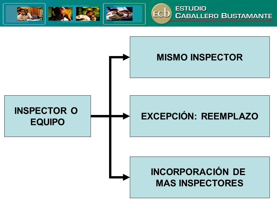 INSPECTOR O EQUIPO INCORPORACIÓN DE MAS INSPECTORES EXCEPCIÓN: REEMPLAZO MISMO INSPECTOR
