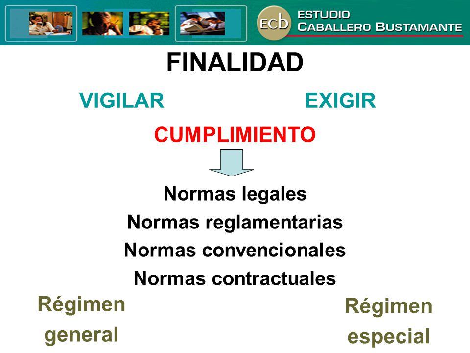 FINALIDAD VIGILAREXIGIR Normas legales Normas reglamentarias Normas convencionales Normas contractuales CUMPLIMIENTO Régimen general Régimen especial