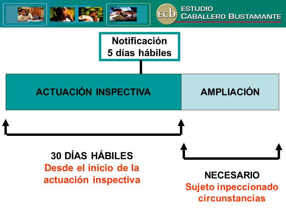 ACTUACIÓN INSPECTIVAAMPLIACIÓN 30 DÍAS HÁBILES Desde el inicio de la actuación inspectiva NECESARIO Sujeto inpeccionado circunstancias Notificación 5