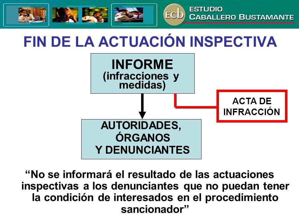 FIN DE LA ACTUACIÓN INSPECTIVA INFORME (infracciones y medidas) ACTA DE INFRACCIÓN AUTORIDADES, ÓRGANOS Y DENUNCIANTES No se informará el resultado de
