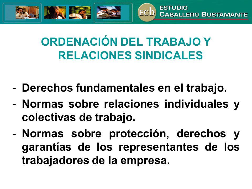 ORDENACIÓN DEL TRABAJO Y RELACIONES SINDICALES -Derechos fundamentales en el trabajo. -Normas sobre relaciones individuales y colectivas de trabajo. -