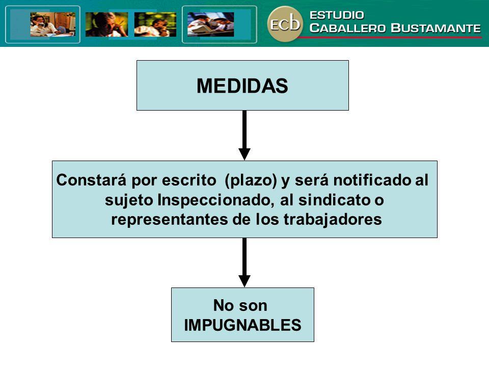 MEDIDAS Constará por escrito (plazo) y será notificado al sujeto Inspeccionado, al sindicato o representantes de los trabajadores No son IMPUGNABLES