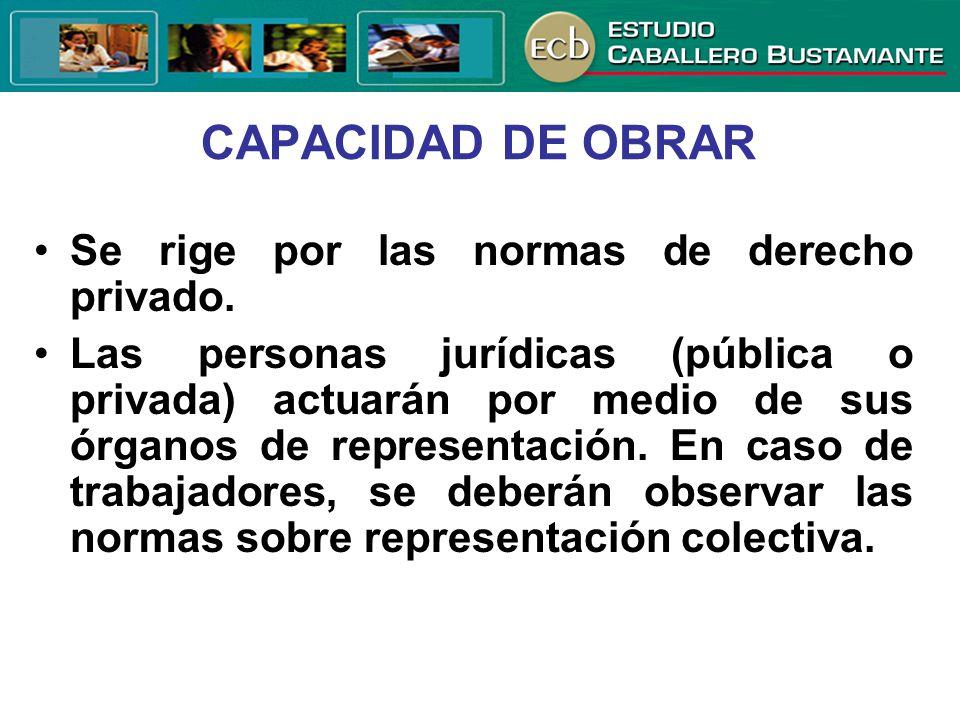 CAPACIDAD DE OBRAR Se rige por las normas de derecho privado. Las personas jurídicas (pública o privada) actuarán por medio de sus órganos de represen