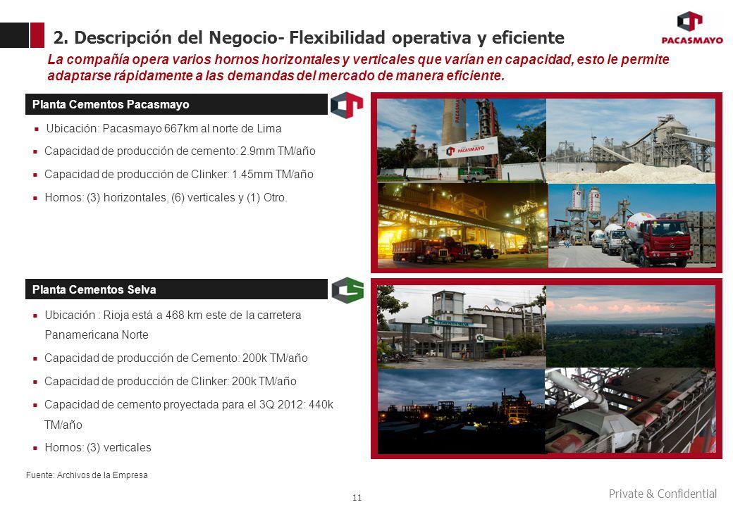 Private & Confidential 2. Descripción del Negocio- Flexibilidad operativa y eficiente 11 La compañía opera varios hornos horizontales y verticales que