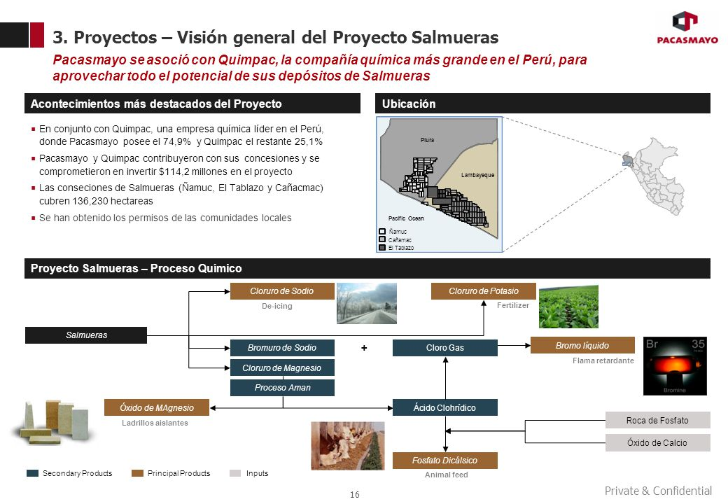 Private & Confidential 3. Proyectos – Visión general del Proyecto Salmueras 16 Pacasmayo se asoció con Quimpac, la compañía química más grande en el P