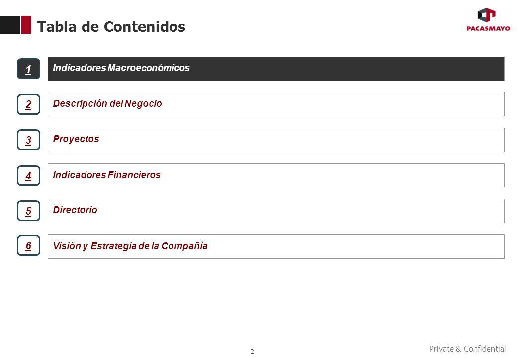 Tabla de Contenidos 2 Indicadores Macroeconómicos Descripción del Negocio Proyectos Indicadores Financieros 1 2 3 4 Directorio Visión y Estrategia de