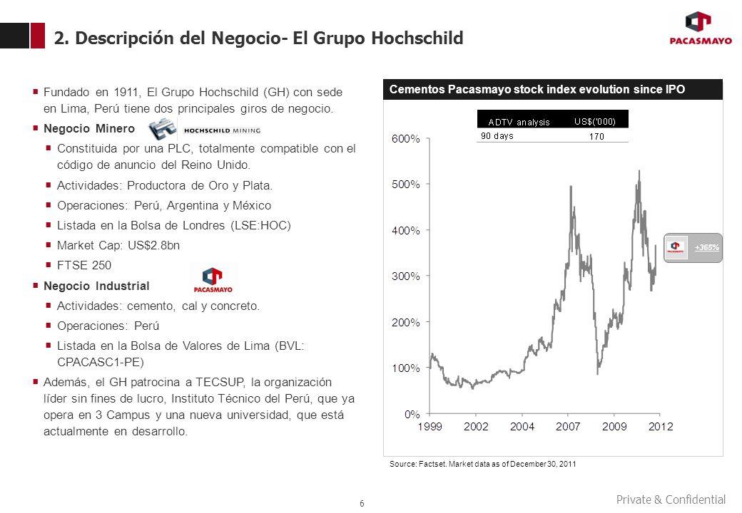 Private & Confidential 2. Descripción del Negocio- El Grupo Hochschild 6 Fundado en 1911, El Grupo Hochschild (GH) con sede en Lima, Perú tiene dos pr
