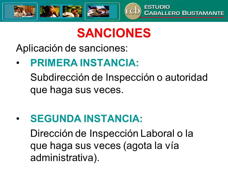 SANCIONES Aplicación de sanciones: PRIMERA INSTANCIA: Subdirección de Inspección o autoridad que haga sus veces. SEGUNDA INSTANCIA: Dirección de Inspe