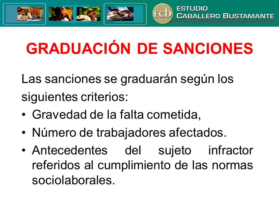 GRADUACIÓN DE SANCIONES Las sanciones se graduarán según los siguientes criterios: Gravedad de la falta cometida, Número de trabajadores afectados. An