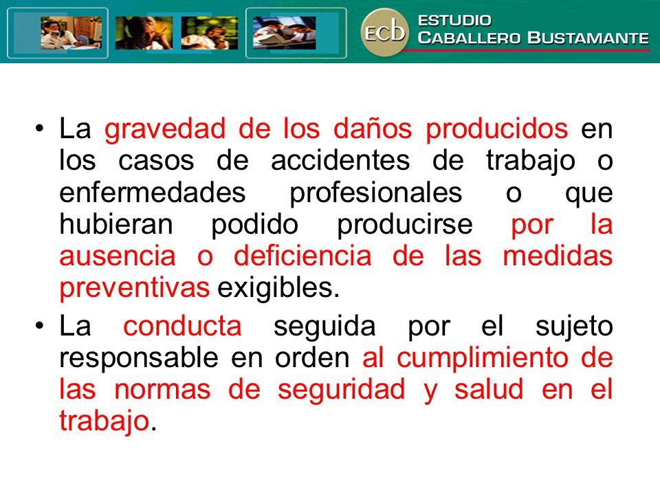 La gravedad de los daños producidos en los casos de accidentes de trabajo o enfermedades profesionales o que hubieran podido producirse por la ausenci