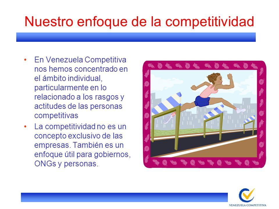 Nuestro enfoque de la competitividad En Venezuela Competitiva nos hemos concentrado en el ámbito individual, particularmente en lo relacionado a los r