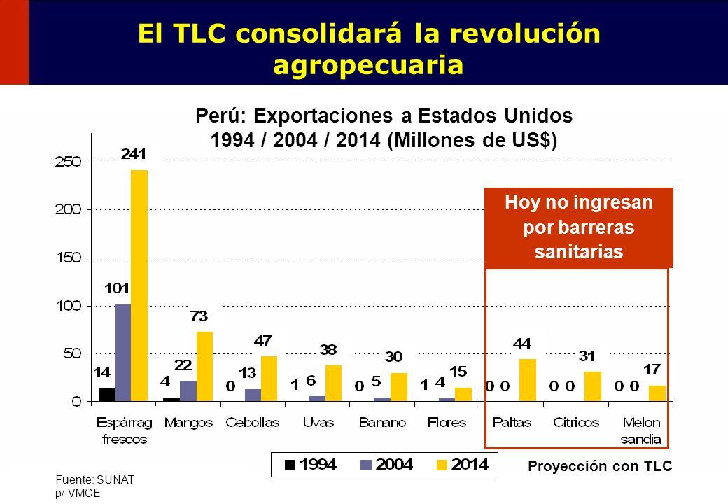 11 Fuente: SUNAT p/ VMCE Perú: Exportaciones a Estados Unidos 1994 / 2004 / 2014 (Millones de US$) Proyección con TLC Hoy no ingresan por barreras san