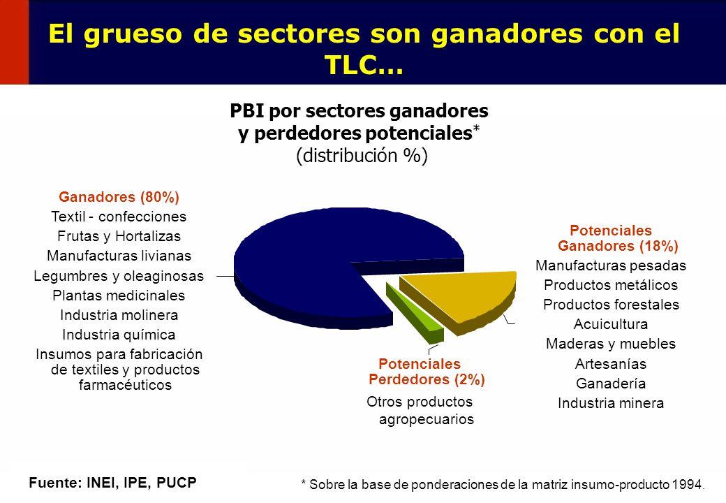 12 El grueso de sectores son ganadores con el TLC… Fuente: INEI, IPE, PUCP PBI por sectores ganadores y perdedores potenciales * (distribución %) * So