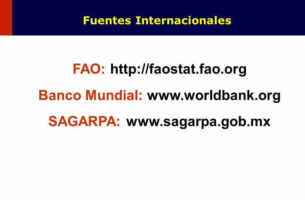 15 Fuentes Internacionales FAO: http://faostat.fao.org Banco Mundial: www.worldbank.org SAGARPA: www.sagarpa.gob.mx