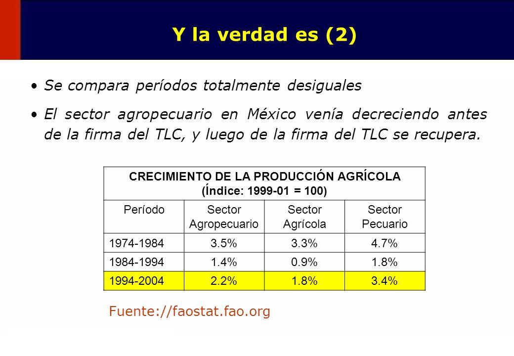 19 Y la verdad es (2) Se compara períodos totalmente desiguales El sector agropecuario en México venía decreciendo antes de la firma del TLC, y luego