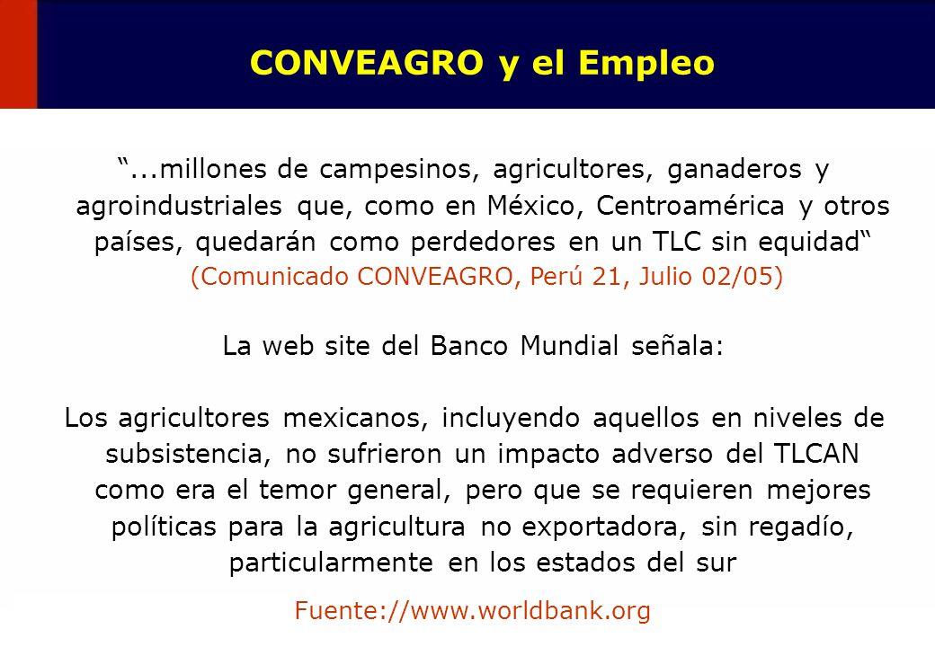 20 CONVEAGRO y el Empleo...millones de campesinos, agricultores, ganaderos y agroindustriales que, como en México, Centroamérica y otros países, queda